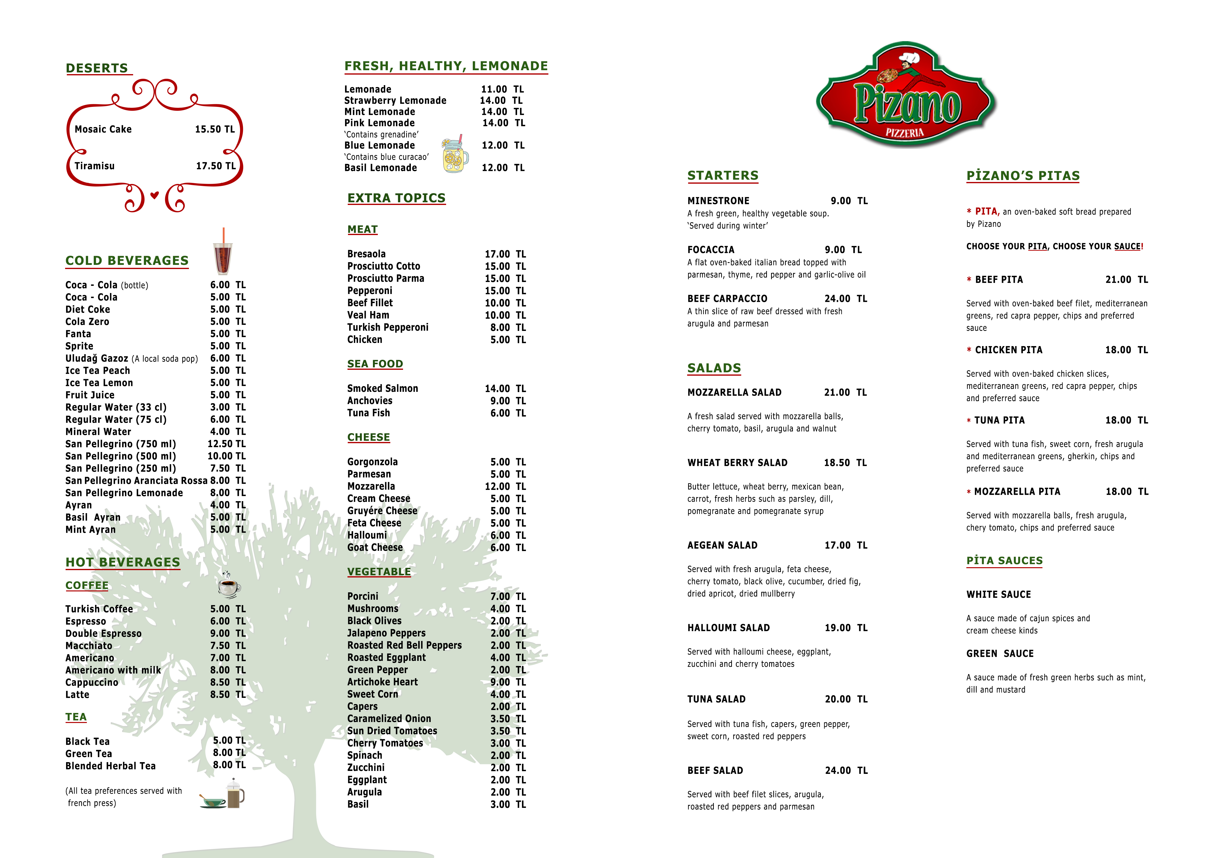 Pizano Menu English Back