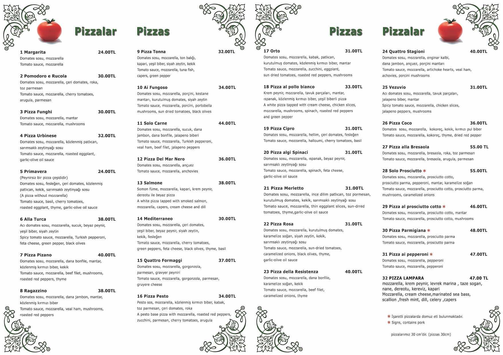 Pizano Menü Türkçe Ön